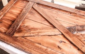 Min-Early American Stain on Finished Barn Door Headboard