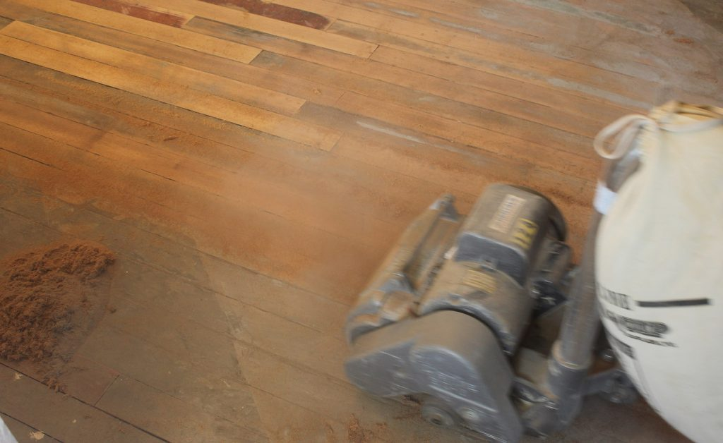 Drum Sander 1st Pass on Badly damaged Hardwood Floors
