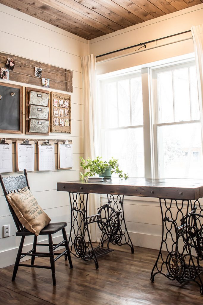 Rustic industrial home office with DIY home command center