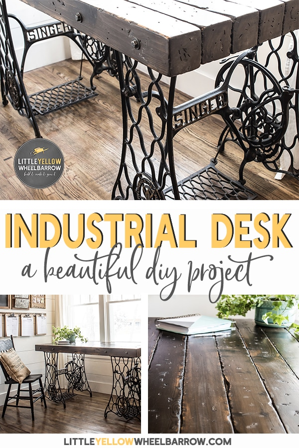 Industrial Desk Made From Antique Singer Sewing Machine Treadle Bases