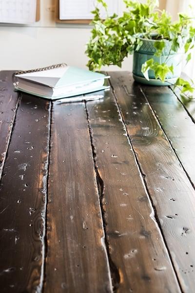 Distressed farmhouse style desk top.