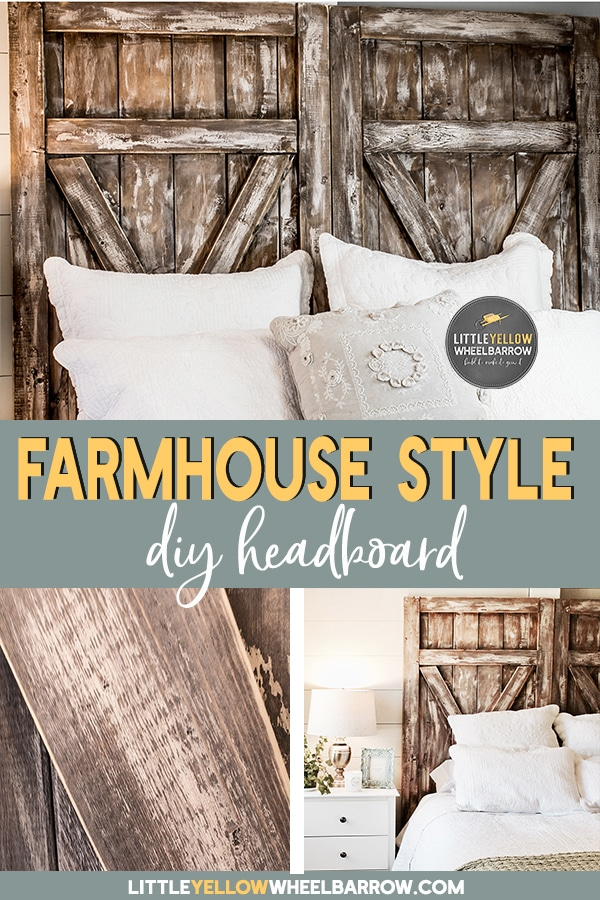 How to build a rustic barn door headboard.  A simple & inexpensive DIY weekend project to bring some rustic farmhouse charm to your bedroom.  #DIY #Homedecor #Bedroomideas #woodworking #DIYprojects #easyprojects #homedecor