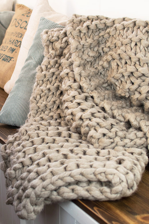 Beige Chunky Knit Blanket Completed