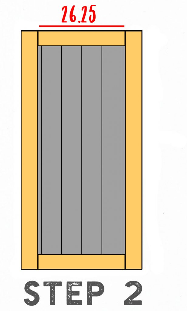 Step Two Diagram Illustrating How to Frame A Barn Door Headboard