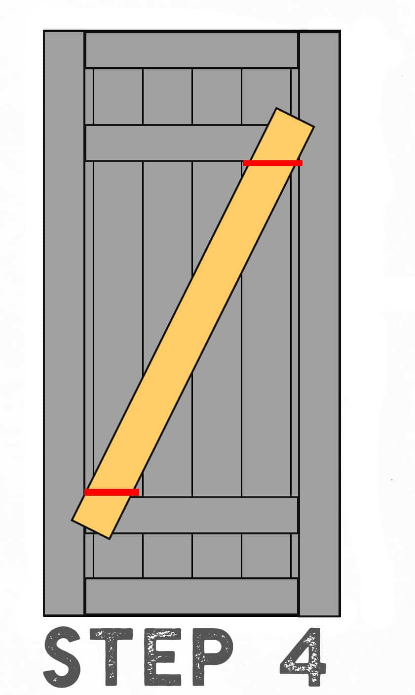 Step 4 Diagram Illustrating Placement of Diagonal Inside Barn Door piece
