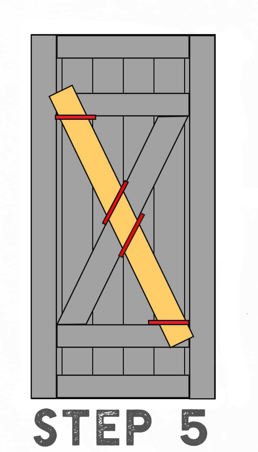 Step 5 Diagram Illustrating Placement of Second Diagonal Inside Barn Door piece