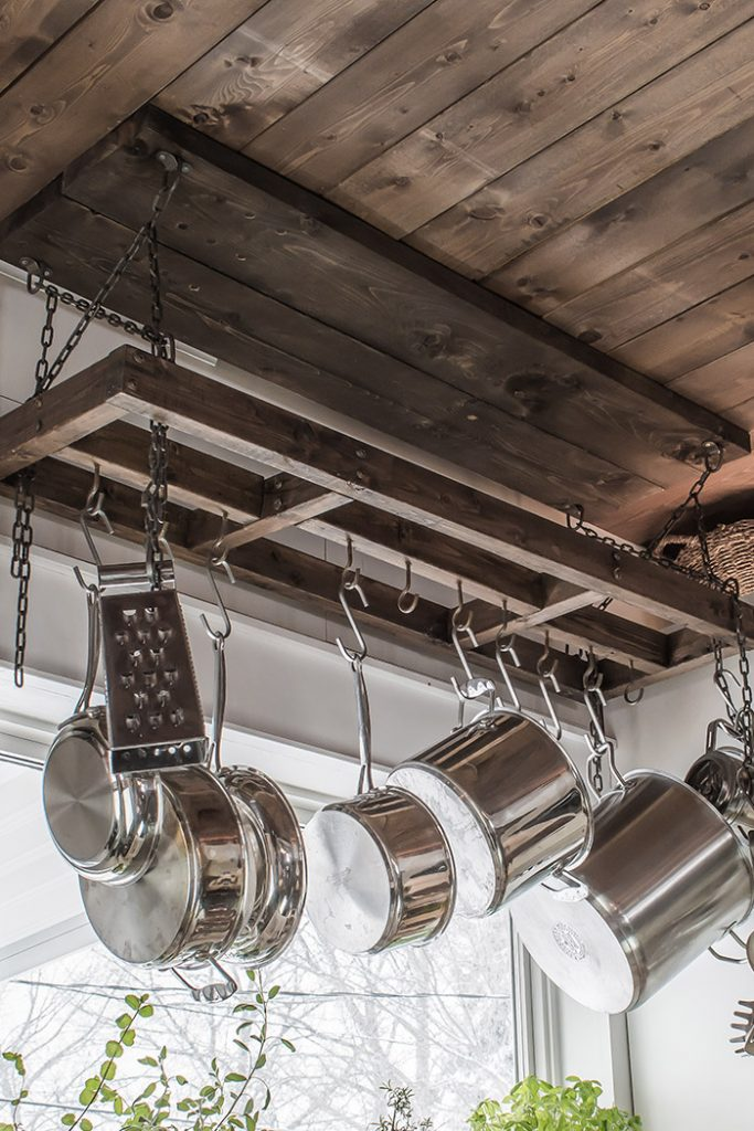 Wood and metal chain DIY pot rack