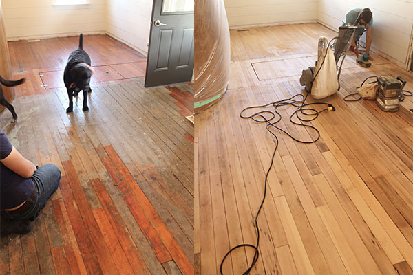 Hardwood floor restoration in progress.