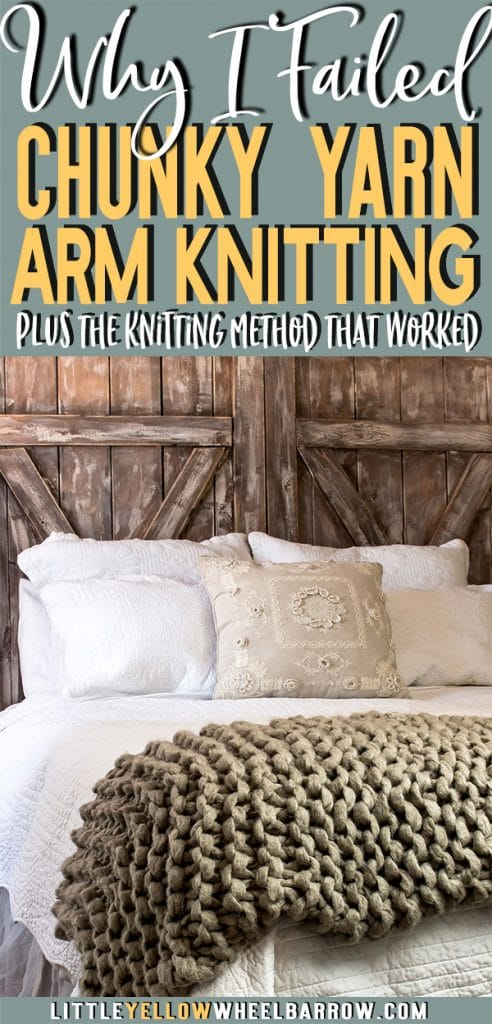 Before you try Arm knitting check out this comparison.  If you want to DIY knit a chunky blanket without gaps and holes, you might want to knit your blanket up with larger needles.