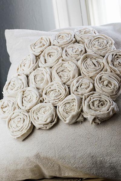 Crafting a textured rosette pillow in progress