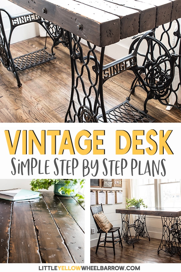 Industrial desk made from antique Singer sewing machine