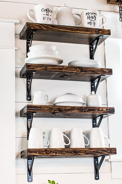 adding open shelves to store plates and mugs