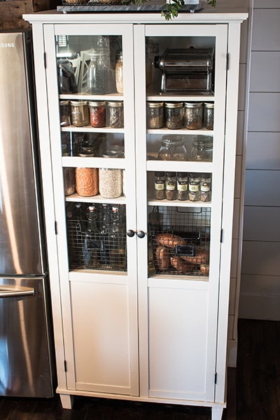 Linen cabinet turned into a kitchen pantry