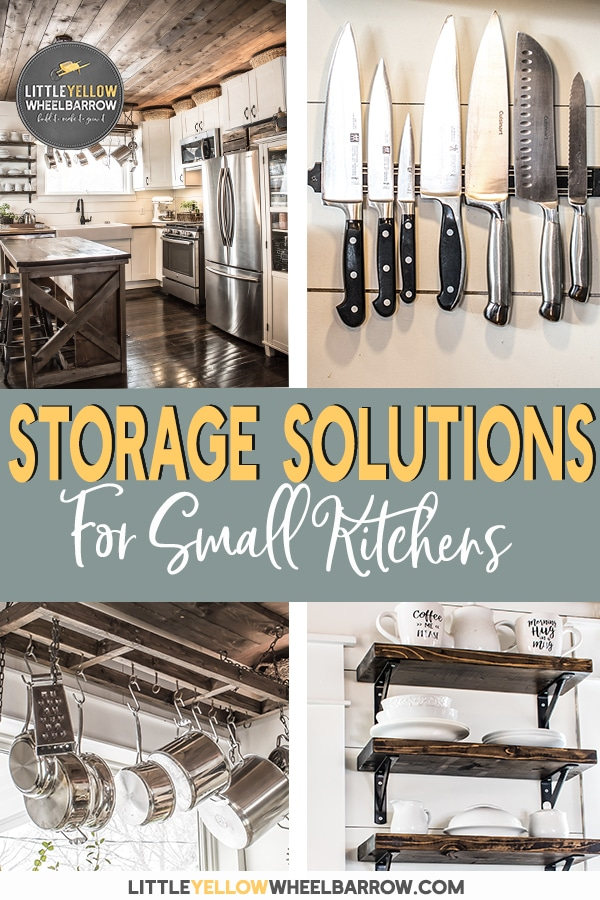 12 storage solutions to organize and maximize a small kitchen.