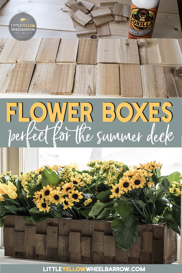 How to build a pretty wooden planter quick and cheap!    An easy DIY wood project anyone can make.  Made from scrap wood and a small bundle of wooden shims the project couldn\'t be less expensive!