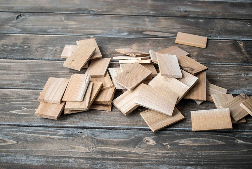 Wooden shims cut into small pieces