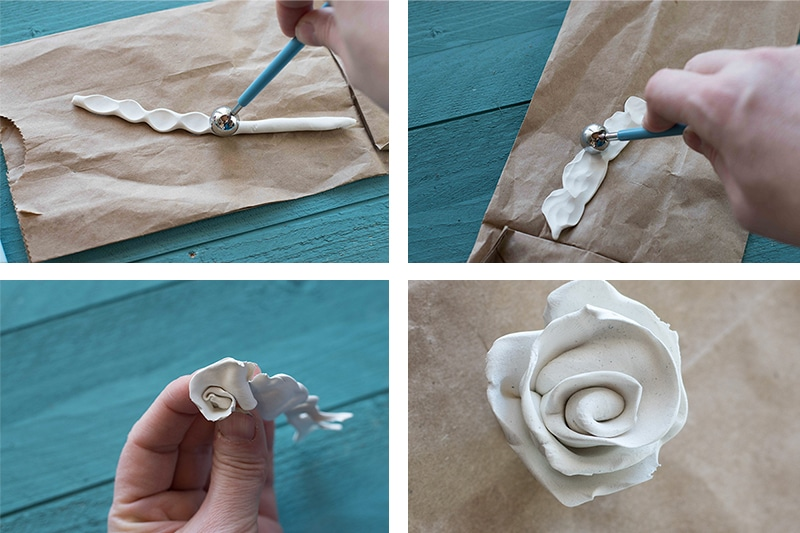 four step polymer clay rolled roses