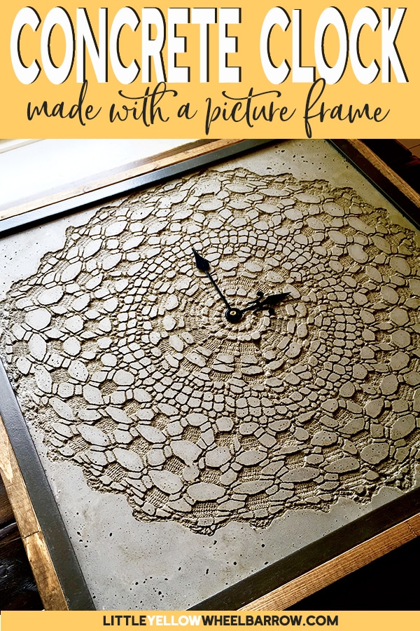 An IKEA hack to make a DIY Concrete clock.  Come check out how we pulled this clock together using an IKEA picture frame, concrete clay, and a vintage doily.