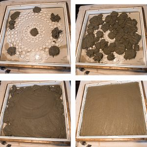 The Steps to add the Clay to the DIY Concrete Clock Mold
