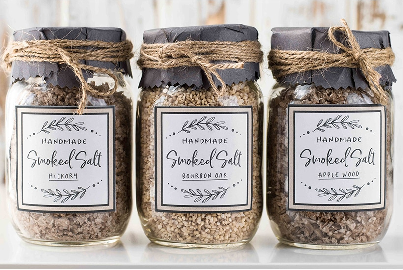 three jars of homemade smoked salt with downloadable labels