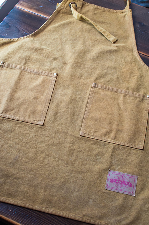 Waxed canvas garden apron after being removed from the dryer