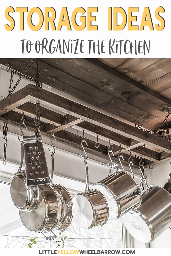 12 stylish ways to organize your small kitchen that free up cabinets and drawers. These tips are inexpensive, and look good! You can create a beautiful, organized kitchen with just a few items and a bit of creativity. Take a look at what we did with our small kitchen and get inspired! #smallkitchen #organizing #kitchenorganizing #storageideas #kitchenstorage #cabinetorganizing #rustickitchen #kitchenideas