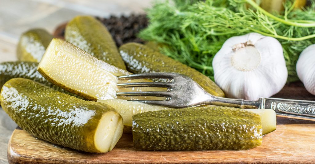 homemade dill pickles made with garlic and fresh dill