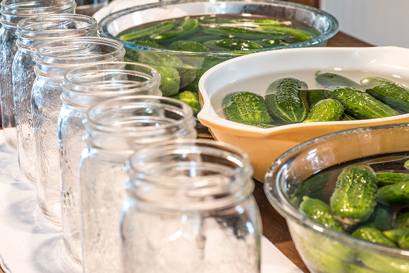 giving cucumbers a water bath before  canning