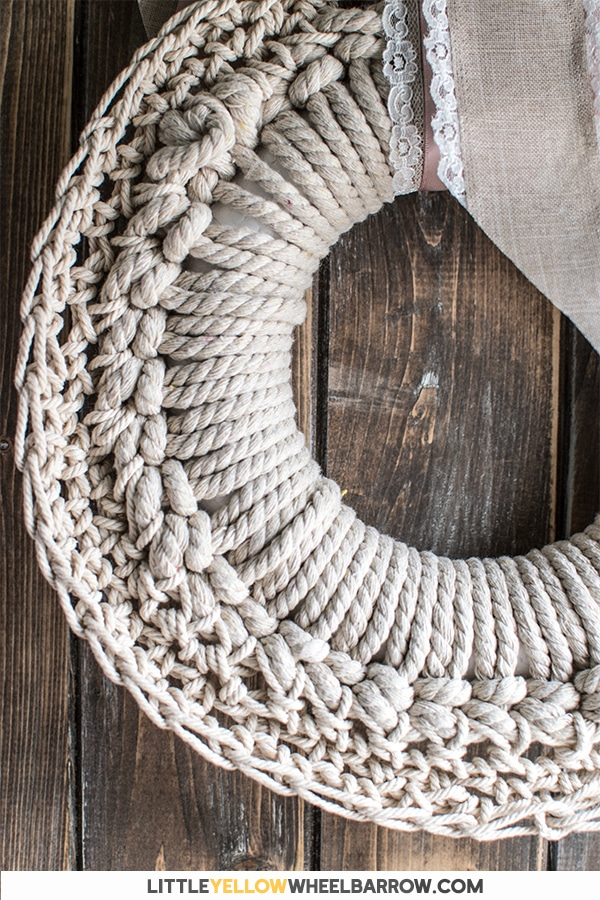 Crochet Wreath on a Rustic Backdrop