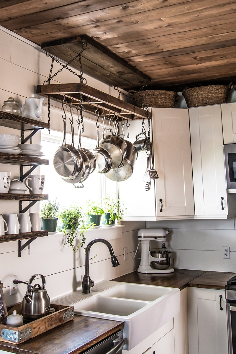 How to Build a DIY Pot Rack and Secure it to Your Ceiling