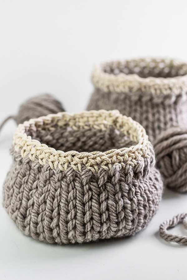 DIY knitted basket