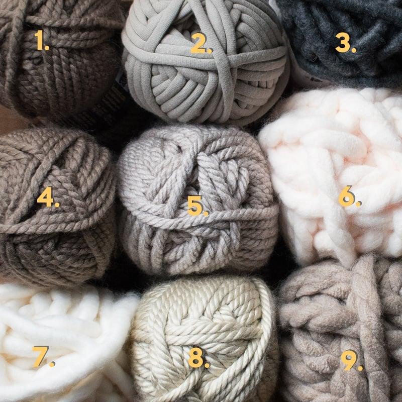 nine different kinds of jumbo yarn
