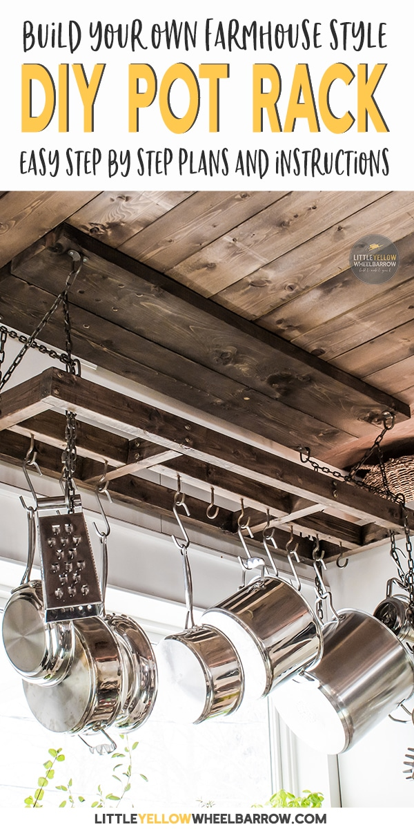 A rustic farmhouse pot rack that you can DIY over the weekend.  Easy woodworking plans that take you step by step through the entire process.  This DIY project is great for small kitchens to create additional storage space.  #potrack #diypotrack #kitchenstorage #woodworking #easywoodworking #diyprojects #farmhousestyle #rusticipotrack #hangingpotrack #potrackoversink #farmhousepotrack