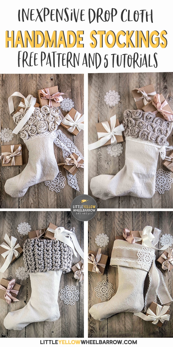 An easy sewing project for the holidays. Make these simple craft Christmas stockings in no time flat.  This Christmas project is crafted with a simple drop cloth and a few easy to find craft supplies.  An inexpensive project you can customize for your holiday theme.  #easychristmascrafts #christmassewing #holidaystockings #diychristmasstockings #rusticchristmas #rusticstockings #holidaycrafts