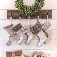 Easy Drop Cloth Christmas Stockings - Styled 5 Different Ways