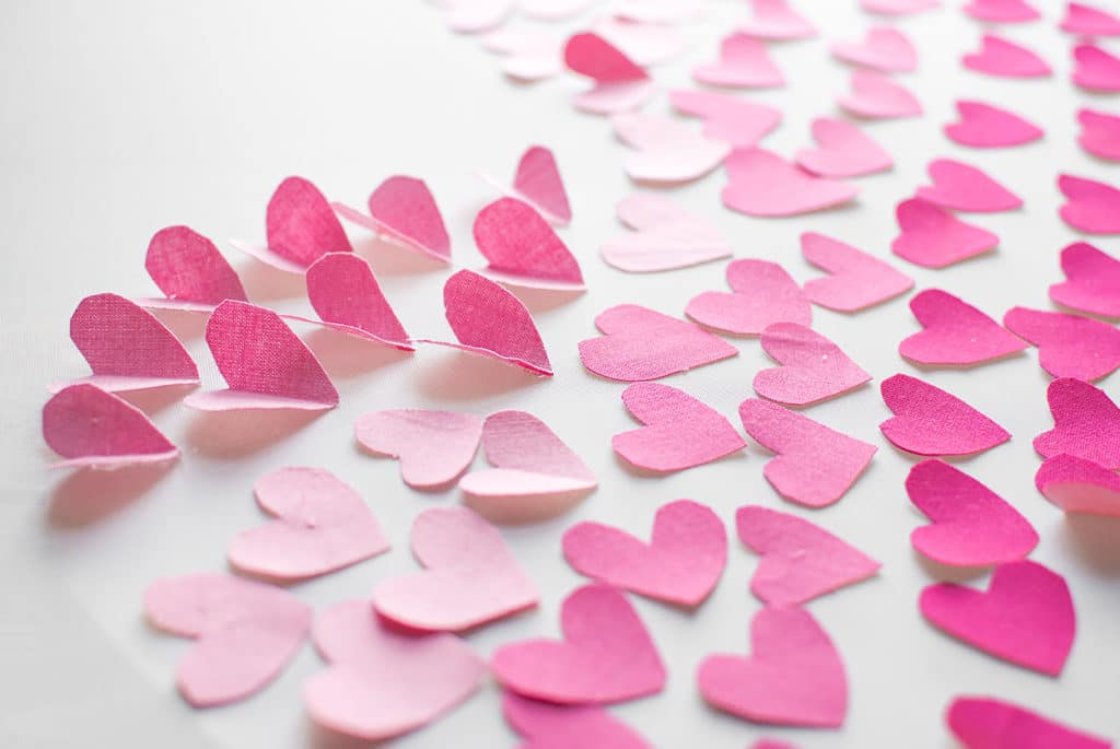 pink ombre fabric mini hearts