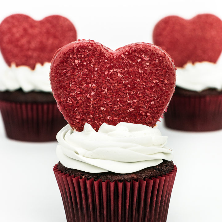 Red Velvet Cupcakes with Edible Glitter Chocolate Hearts