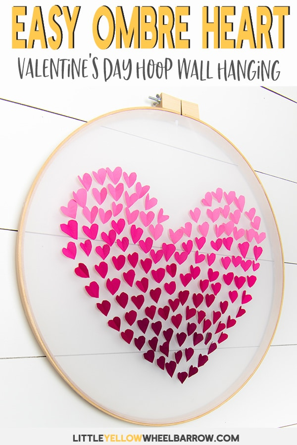 An easy craft project to make with an embroidery hoop. This ombre heart wall hanging is perfect Valentine\'s Day craft idea and would look super cute hanging on a door! Check out the step by step tutorial and make your own DIY embroidery hoop heart. #Valentinesdaycraft #easycraftideas #valentinesday #embroideryhoop #embroideryhoopcrafts
