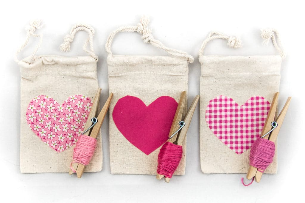 Pull string treat bags with applique hearts