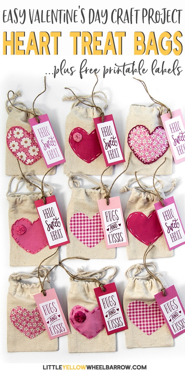 A perfect Valentine's Day craft project.  These cute little tie string Valentine's day treat bags are an easy craft to make and perfect for gift giving.   We even included the free printable download for the hanger tags.  #valentinesdaycraft #valentinesdaytreat #valentinesdaygift #easycraftprojects #diygift