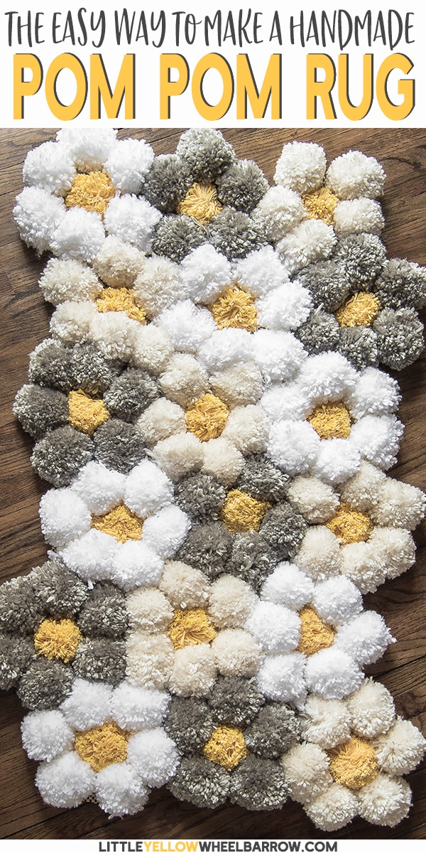 A tips and tricks tutorial for making a pom pom rug really fast!  We give details about what pom pom rug backing to use, how to clean a pom pom rug, and how to make pom poms the right way so your rug lasts a long time.  #pompomrug #yarnrugdiy #pompomcrafts #diyrug #yarncrafts #yarnprojects #pompomideas