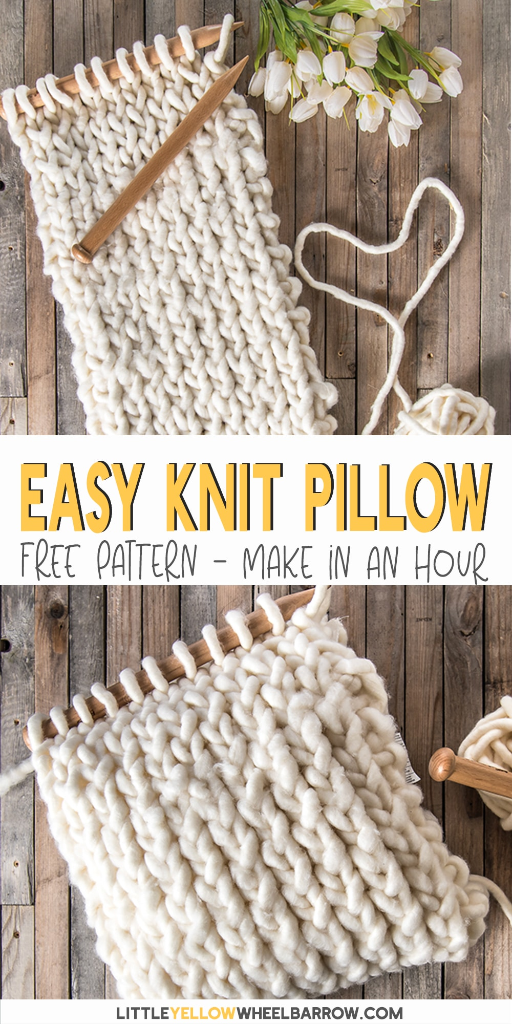 A chunky knit pillow cover that you can pull together in under an hour. This free pattern is perfect for a beginner knitter. No difficult stitches, or counting rows! If you can knit and purl you\'re already there. This easy knitting project is great to perk up old cushions or even to make as a DIY gift. Made with jumbo yarn these cushion covers knit up super quick. If you\'re a new knitter and want a fun yarn project, this knitting pattern is for you!