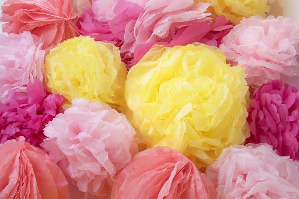 tissue paper pom poms
