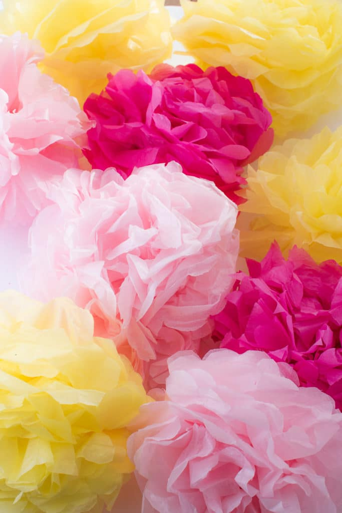 Brightly coloured tissue paper pom pom flowers