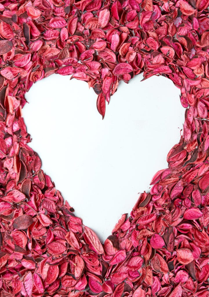Dried red petals on a white background with a heart shaped into the center of the roses to reveal the bright white table top underneath