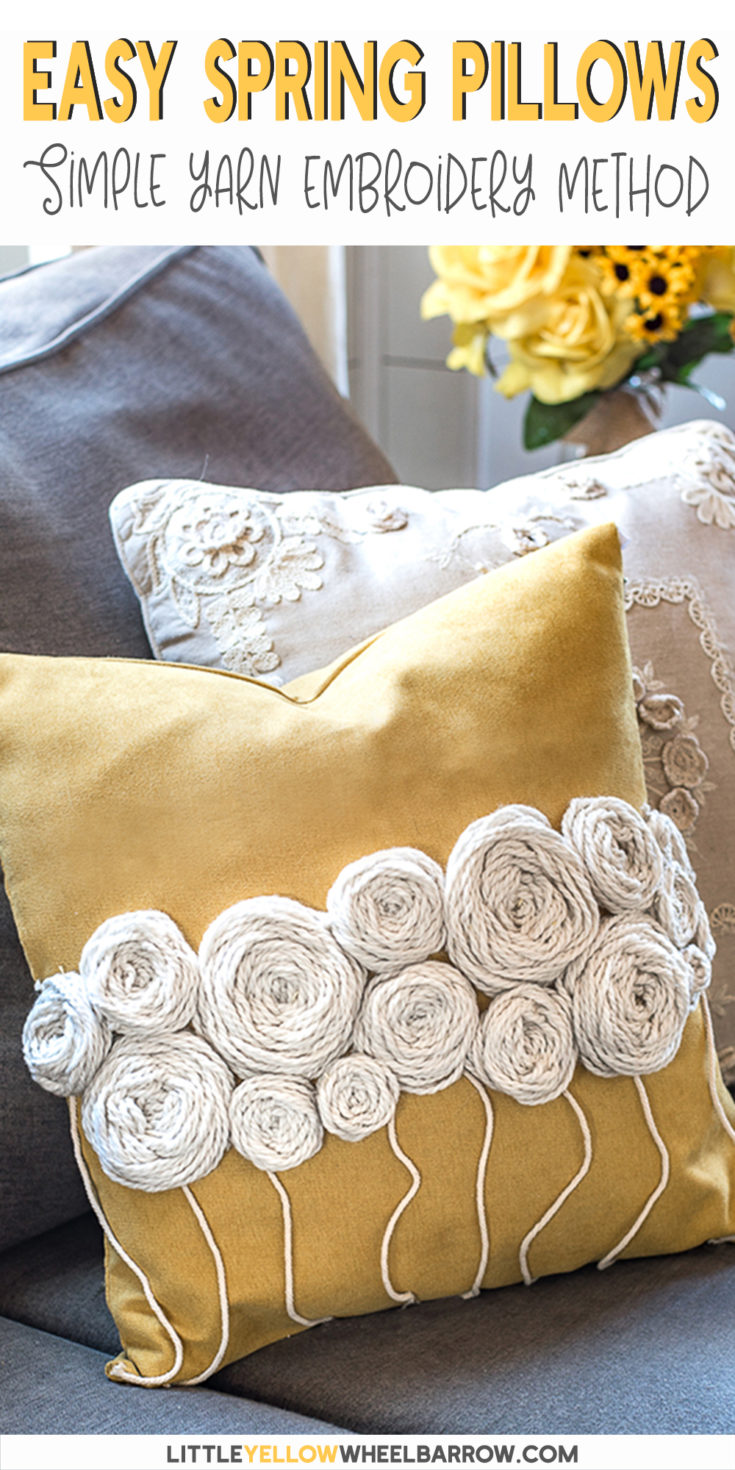 A simple yarn project anyone can do. This easy embroidery method adds a pop of texture and fun to a plain pillow cover. Perk up your home for spring with this DIY home decor project. An easy craft project you can make in a single evening. A step by step tutorial to show you how it's made from start to finish.