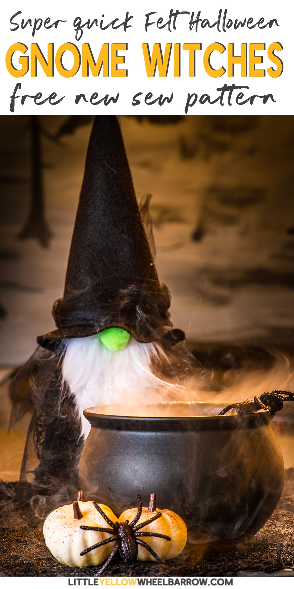 Super adorable felt gnome witches you can make for a Halloween candy display. This easy Halloween craft project takes no time to pull together and can be made with inexpensive materials found at the dollar store. This DIY project would make a great Halloween candy display, or for a Halloween mantle.