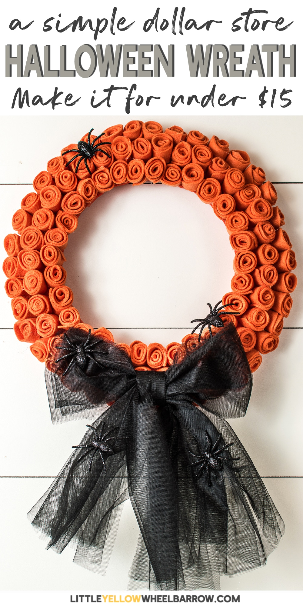 A pretty, but creepy DIY Halloween wreath you can create with supplies from your local dollar store. Made with felt and tulle, it\'s very inexpensive to craft, but the results are beautiful. Craft this wreath for Halloween by adding a black bow and some creepy crawly spiders, or craft for fall and add a pretty burlap bow. It only takes about an hour and a half, and the best part, you can grab all the supplies for under $15.00. #halloween #halloweenwreath #diyhalloweenwreath #halloweencrafts