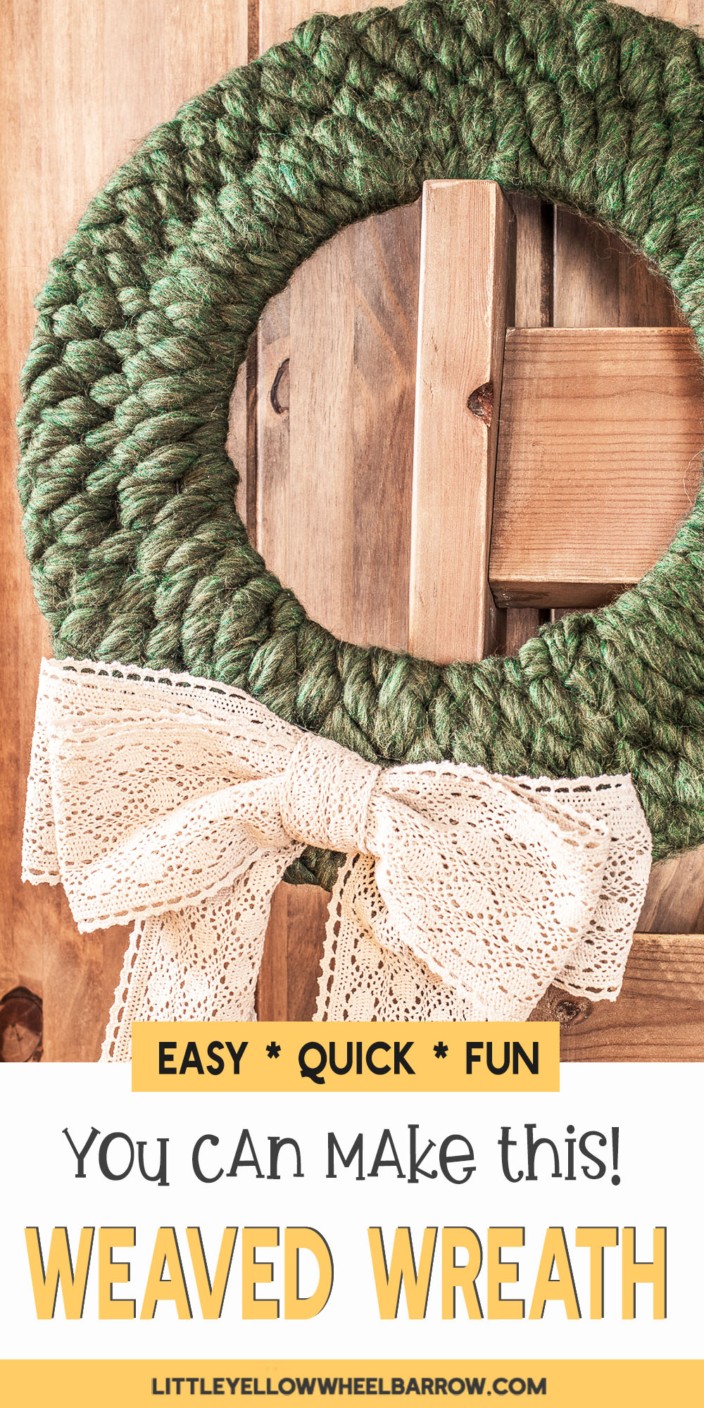 A simple weaved wreath perfect for the holidays. This easy holiday crafting project is the perfect addition to your farmhouse style decorations and adds a touch of homemade flair. This simple step by step tutorial will show you how to create the wreath form and the simple steps to weave the entire project in under 90 minutes.