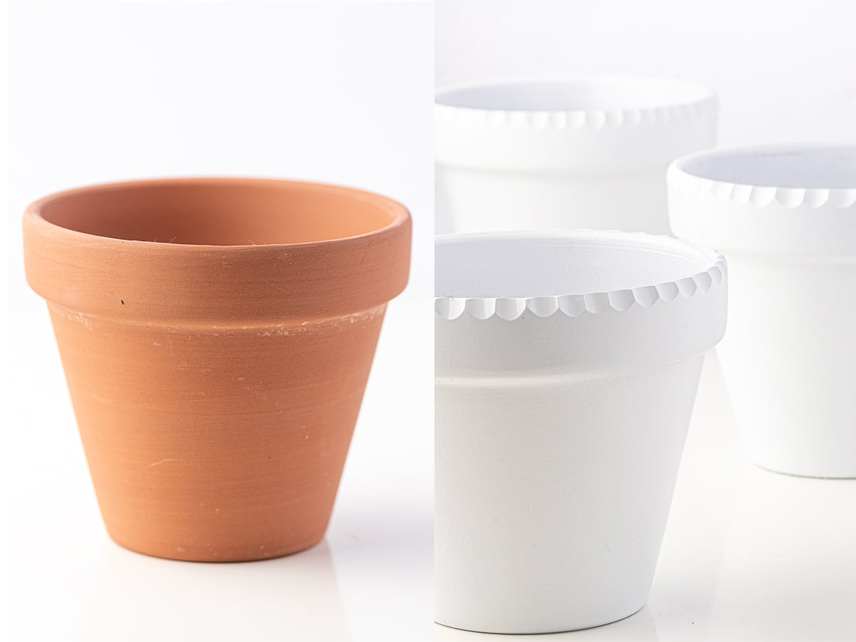 A side by side before and after of a plain terracotta pot beside a finished bright white glossy scalloped edge planter.